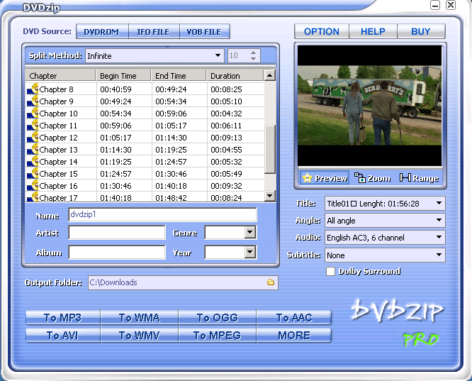 DVDZip Lite 2.8.1.1 Screenshot